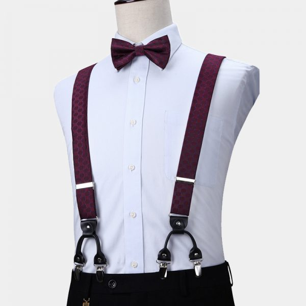 Purple Dotted Bow Tie And Suspenders Set from Gentlemansguru.com