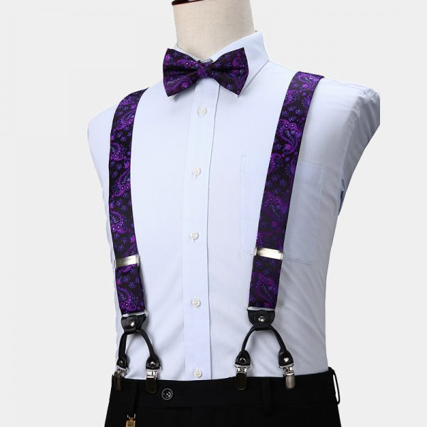 Purple Paisley Suspenders And Bow Tie Set from Gentlemansguru.com