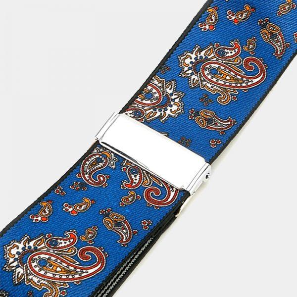 Royal Blue Paisley Mens Suspenders from Gentlemansguru.com