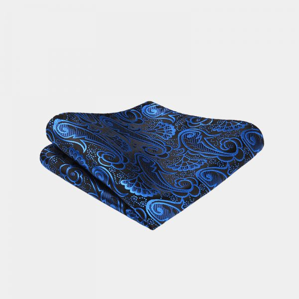 Royal Blue Paisley Pocket Square from Gentlemansguru.com