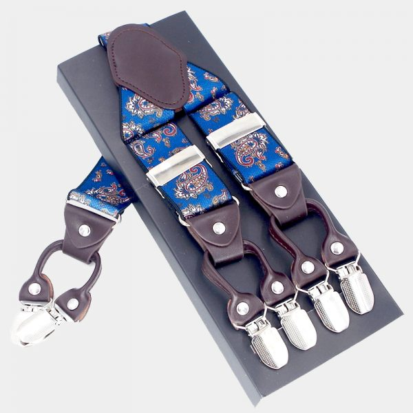 Royal Blue Paisley Suspenders, Double Clip Suspenders Dual Clip Suspenders -Tuxedo Suspenders-Hold Up Suspenders-Double Up Suspenders from Gentlemansguru.com