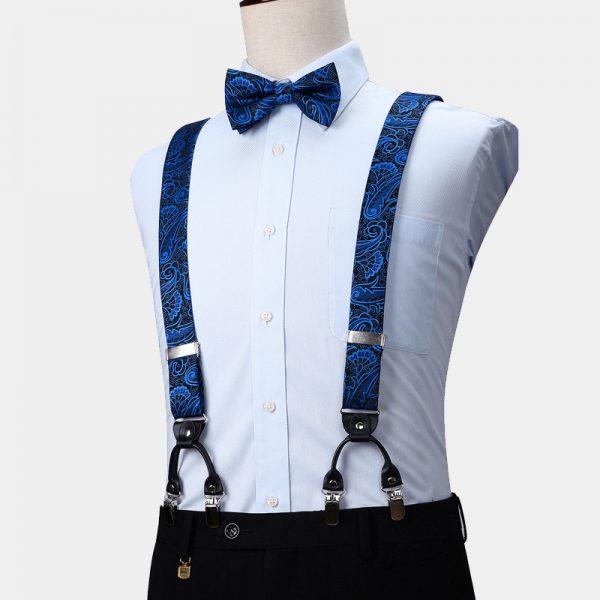 Royal Blue Paisley Suspenders And Bow Tie Set from Gentlemansguru.com