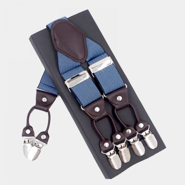Steel Blue Double Clip Suspenders Dual Clip Suspenders -Tuxedo Suspenders-Hold Up Suspenders-Double Up Suspenders from Gentlemansguru.com