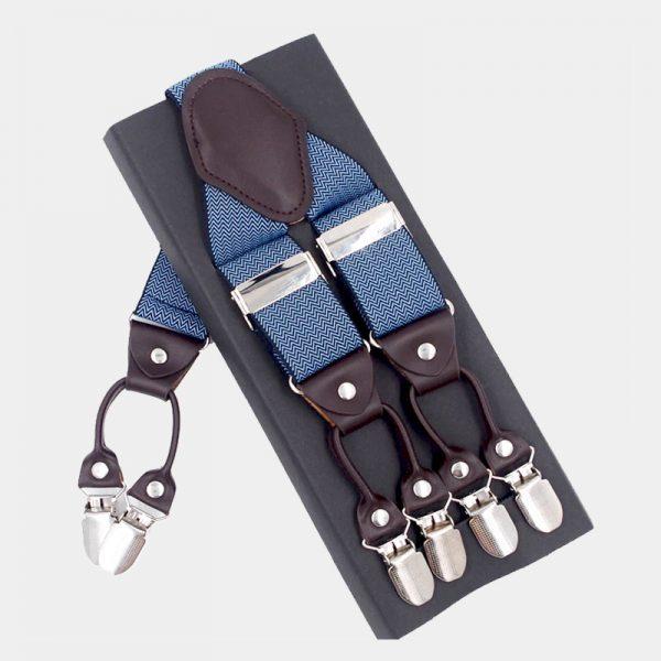 Steel Blue Double Clip Suspenders Dual Clip Suspenders -Tuxedo Suspenders-Hold Up Suspenders-Double Up Suspenders from Gentlemansguru.com