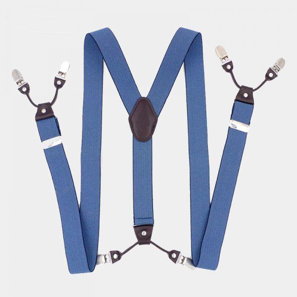 Steel Blue Dual Clip Double Ups Suspenders from Gentlemansguru.com