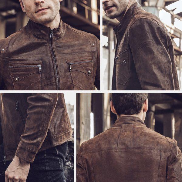 Vintage Retro Brown Leather Jacket For Men from Gentlemansguru.com