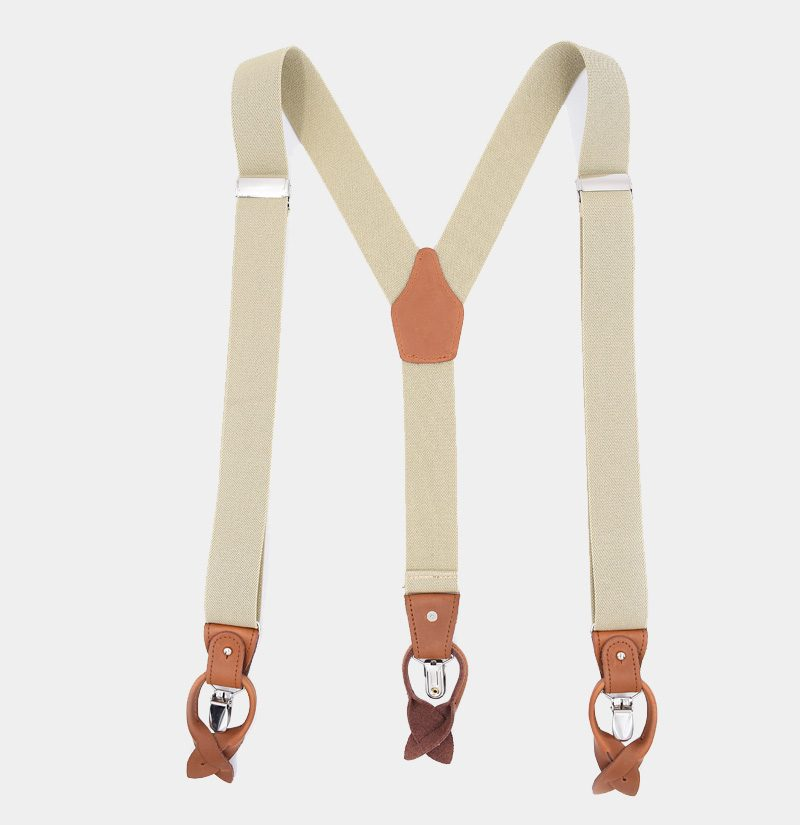Wedding Beige Button End Suspenders from Gentlemansguru.com