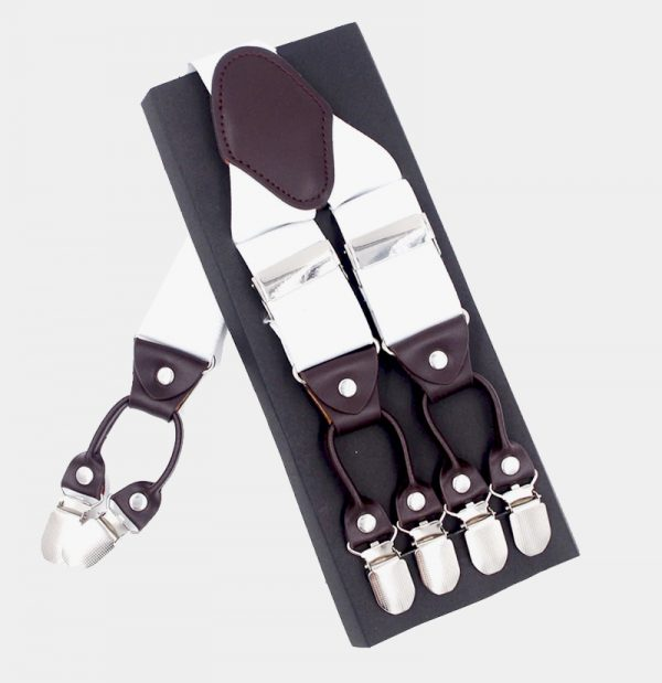 White Double Clip Suspenders Dual Clip Suspenders -Tuxedo Suspenders-Hold Up Suspenders-Double Up Suspenders from Gentlemansguru.com