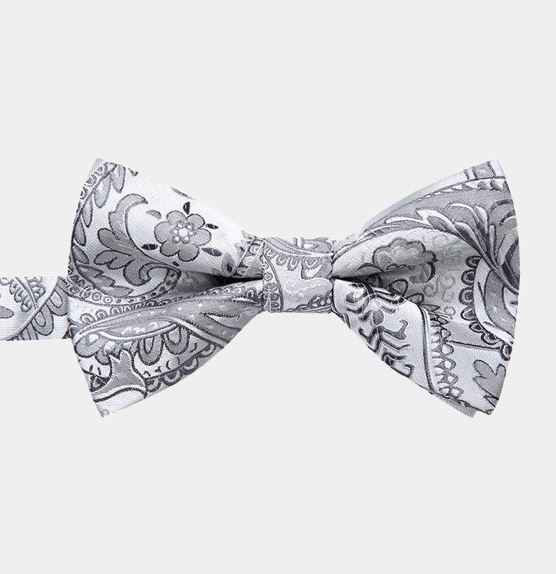 White Floral Pre-Tie Bow Tie from Gentlemansguru.com