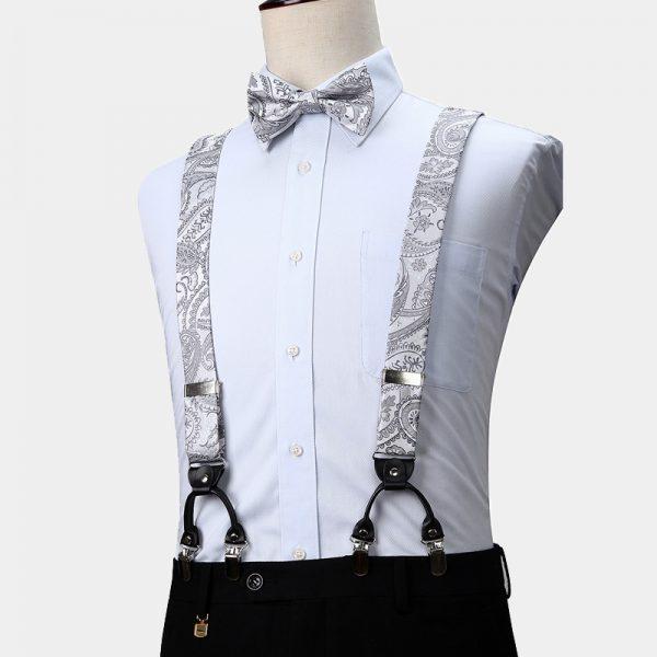White Floral Suspenders And Bow Tie Set from Gentlemansguru.com