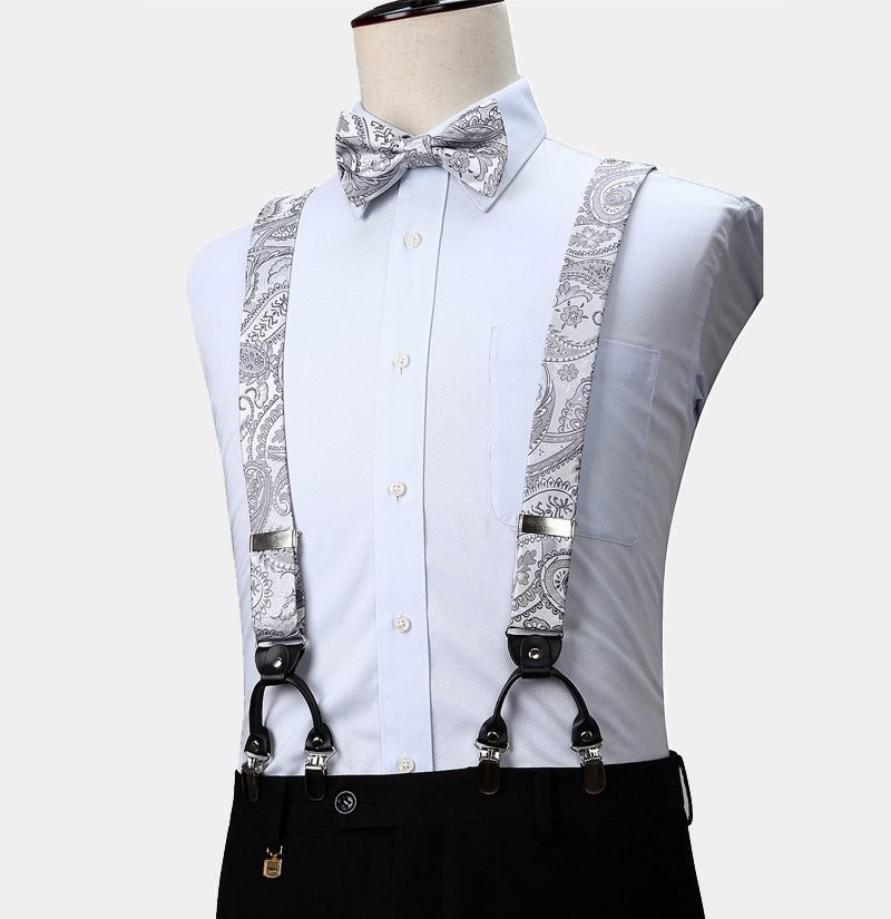White Floral Suspenders And Bow Tie Set from Gentlemansguru.com