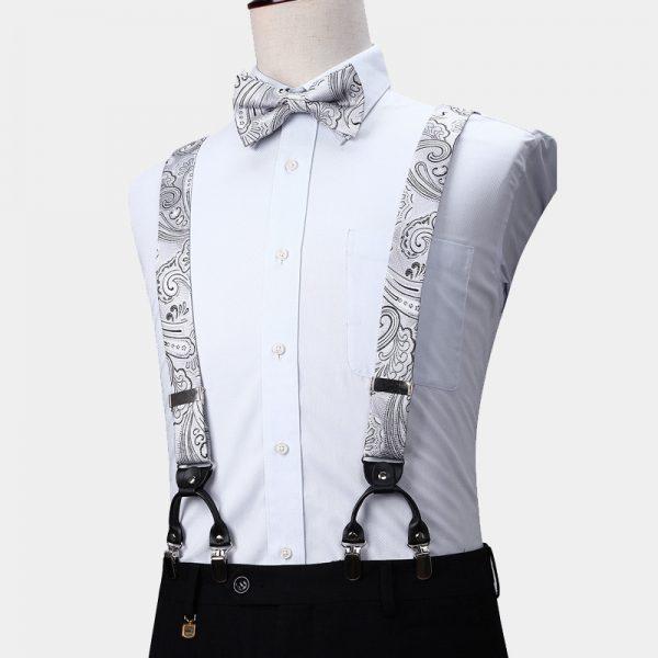 White Paisley Suspenders And Bow Tie Set from Gentlemansguru.com