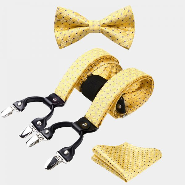 Yellow Dotted Bow Tie And Suspenders Set from Gentlemansguru.com