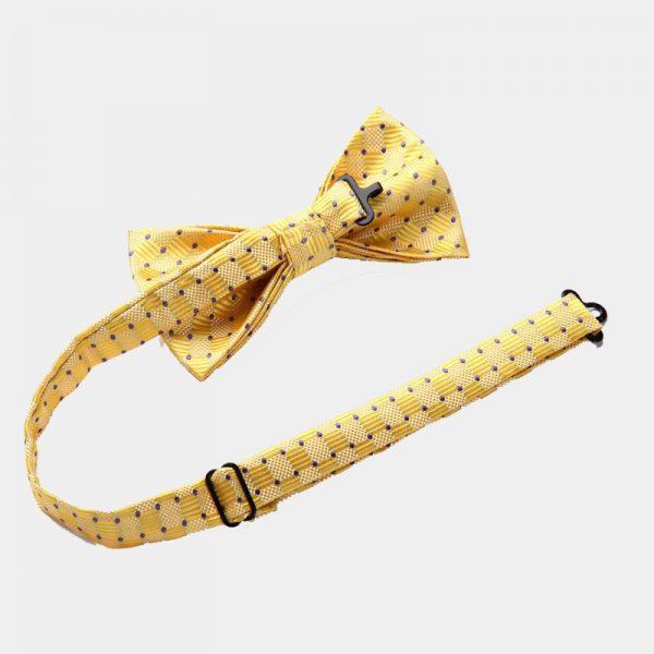 Yellow Dotted Bow Tie Set from Gentlemansguru.com