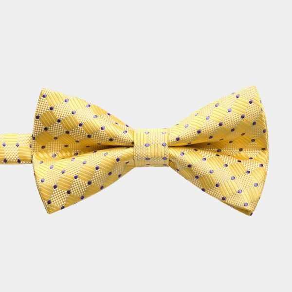 Yellow Dotted Pre-Tie Bow Tie from Gentlemansguru.com