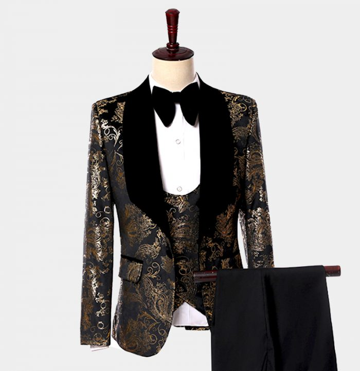 Black And Gold Paisley Tuxedo Suit Wedding-Prom