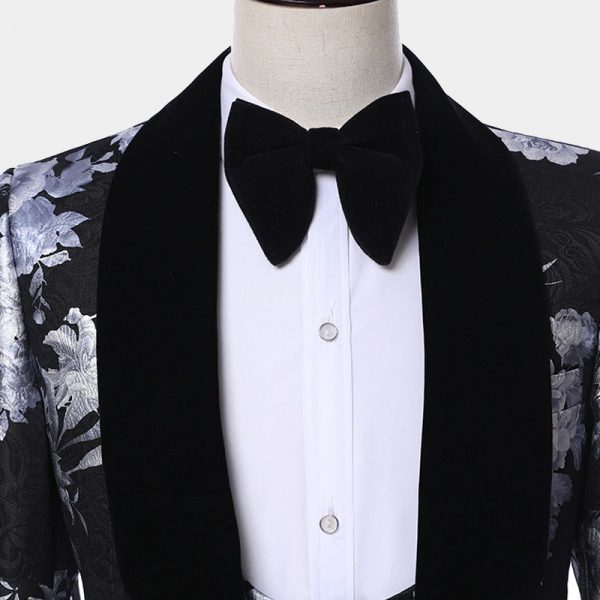 Black And Silver Tuxedo Prom Wedding Suit from Gentlemansguru.com