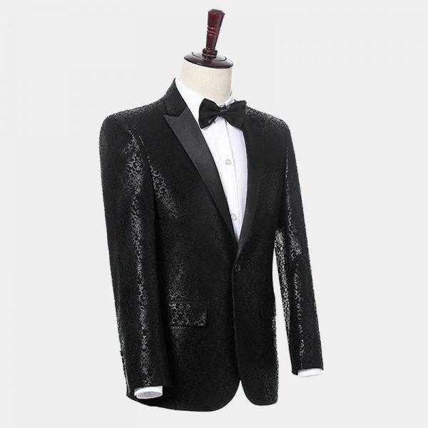 Black Mens Wedding Scroll Print Floral Blazer Jacket from Gentlemansguru.com