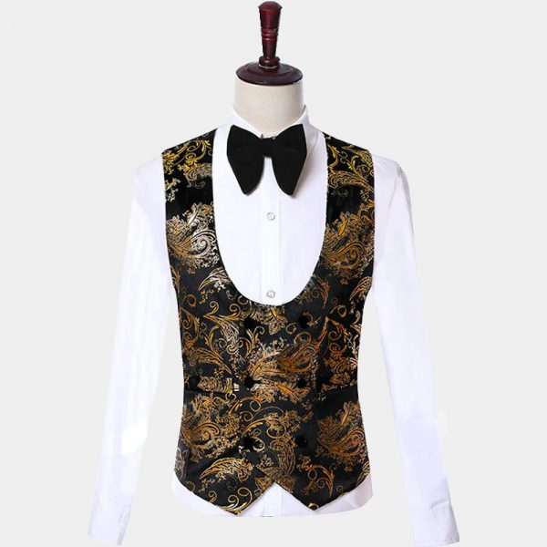 Black Tux Gold Vest Paisley Pattern from Gentlemansguru.com
