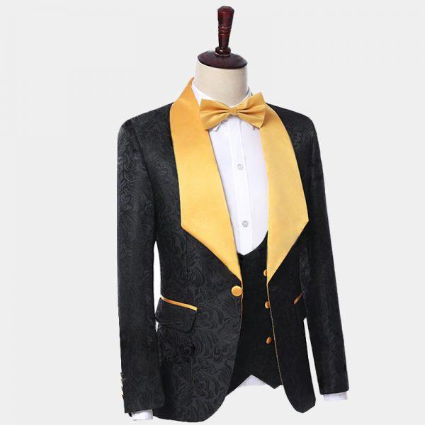 Black Tuxedo With Gold Bow Tie Wedding and Prom from Gentlemansguru.com