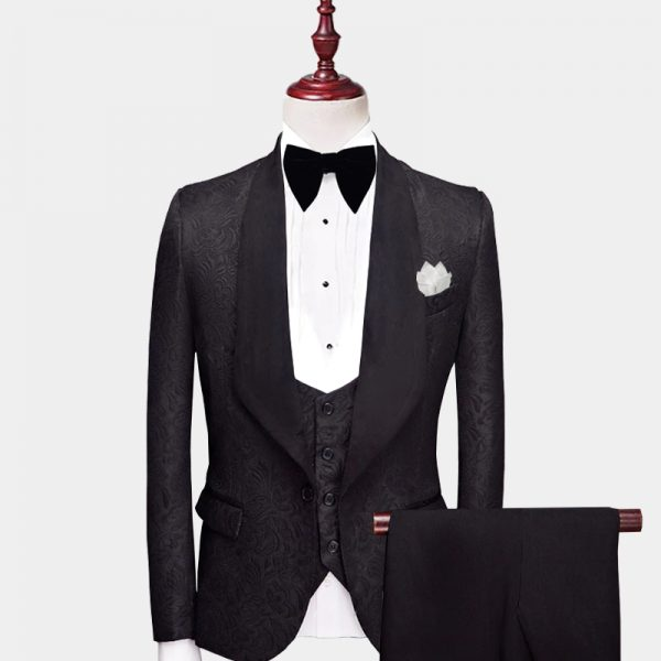 Mens All Black Tuxedo Suit Wedding from Gentlemansguru.com