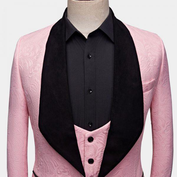 Pink And Black Tuxedo Jacket With Black Shawl Lapel from Gentlemansguru.com