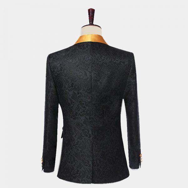 Black and Gold Floral Wide Lapel Tuxedo Suit from Gentlemansguru.com