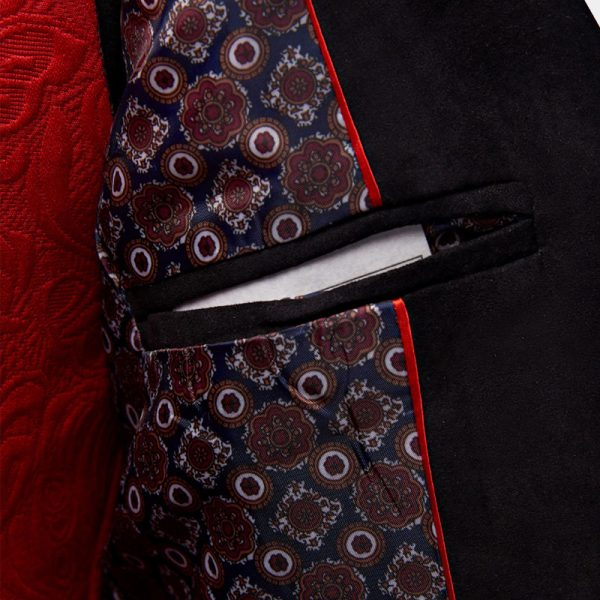 Mens Red And Black Tuxedo Jacket Blazer from Gentlemansguru.com