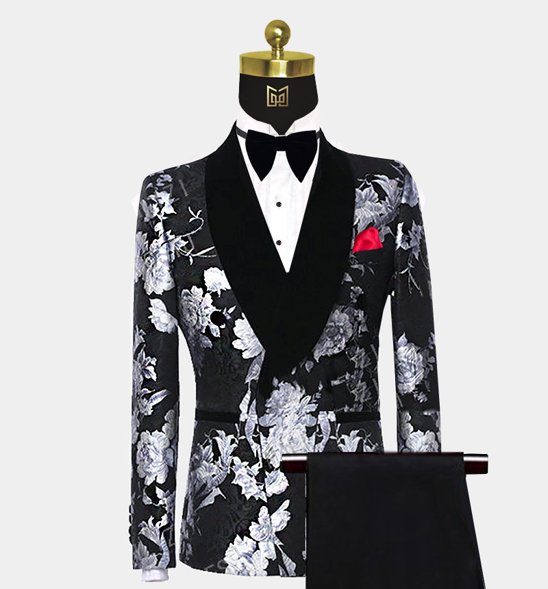 Double-Breasted-Black-and-Silver-Tuxedo-Wedding-Prom-Suit-from-Gentlemansguru.com