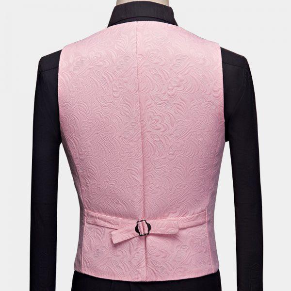 Floral Pink And Black Tuxedo Vest from Gentlemansguru.com