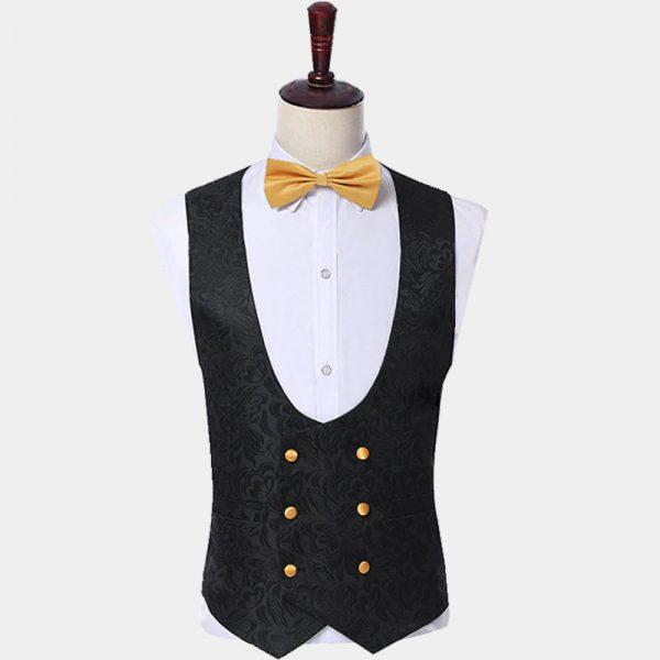 Mens Black And Gold Floral Vest from Gentlemansguru.com