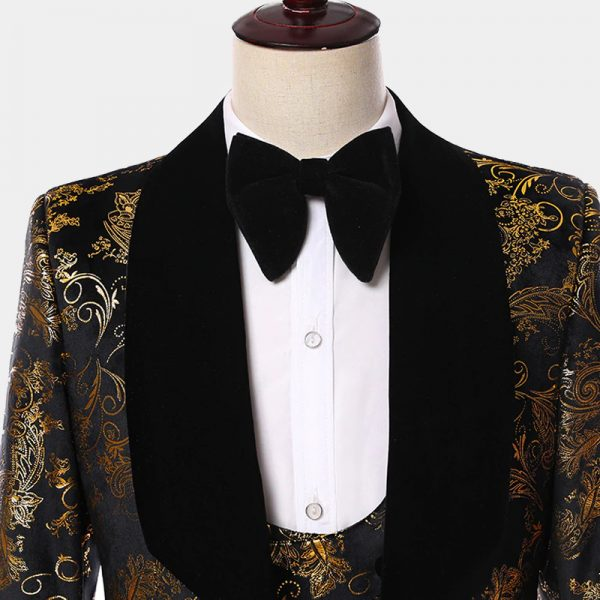 Mens Black And Gold Wide Black Shawl Collar Wedding Tuxedo from Gentlemansguru.com