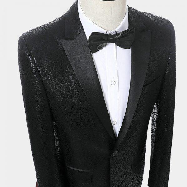 Mens Black Scroll Print Formak Blazer Jacket from Gentlemansguru.com
