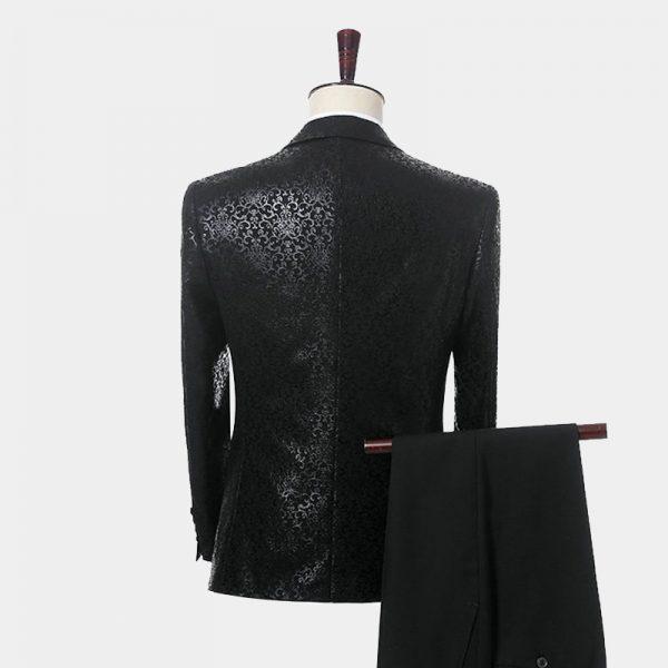 Mens Black Patterned Tuxedo Jacket Peak Lapel from Gentlemansguru.com