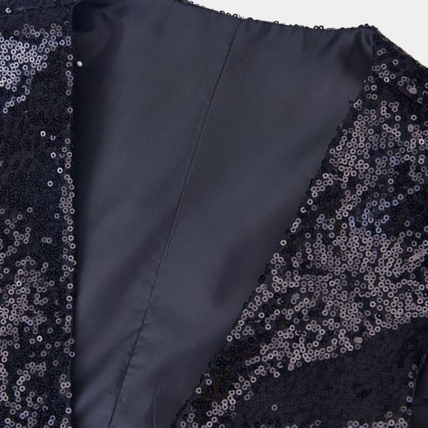 Mens Black Sequin Tuxedo Vest from Gentlemansguru.com