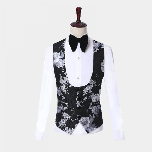 Mens Black Tux Silver Vest from Gentlemansguru.com