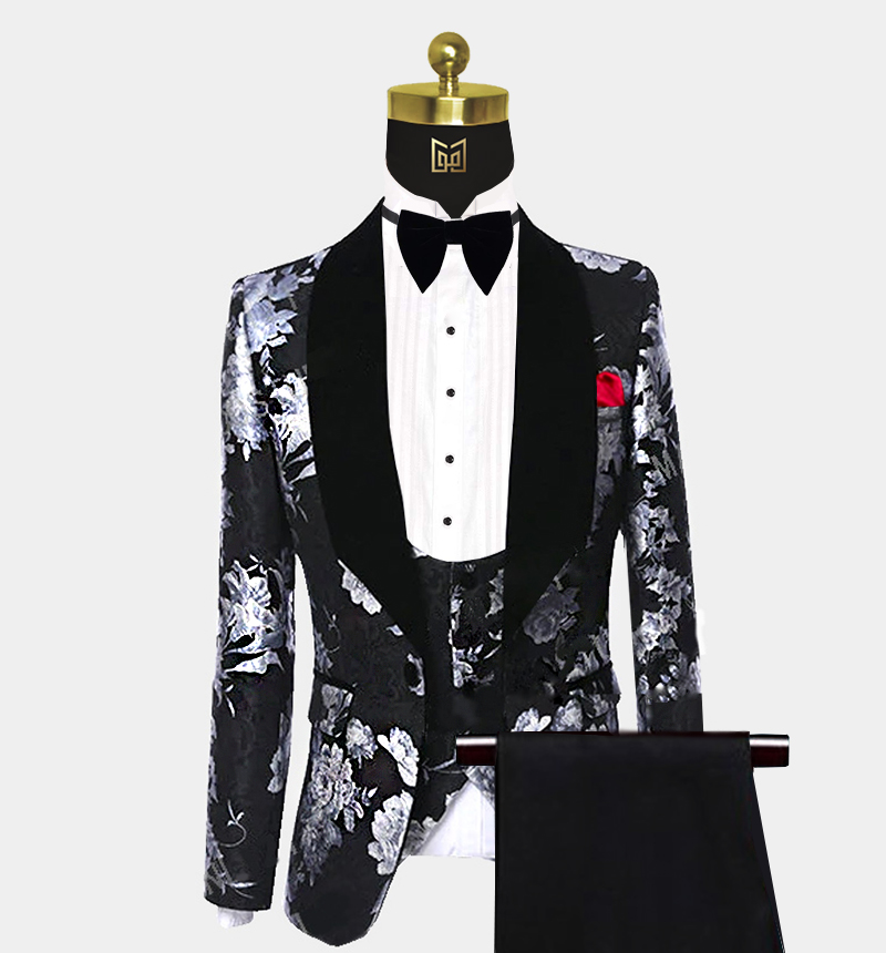 Mens-Black-and-Silver-Tuxedo-Wedding-Prom-Suit-from-Gentlemansguru.com