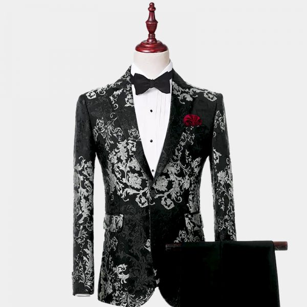Mens Black and White Floral Tuxedo Suit Wedding Prom from Gentlemansguru.comù