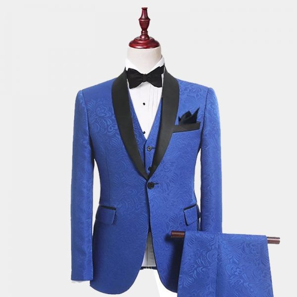 Men's Blue Floral Tuxedo Suit With Black Lapel from Gentlemansgur.com