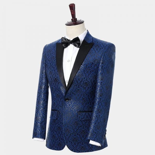 Men's Blue Scroll Print Formal Suit from Gentlemansguru.com