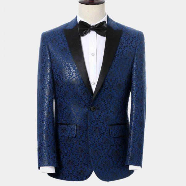 Mens Navy Blue And Black Tuxedo Suit Jacket from Gentlemansguru.com