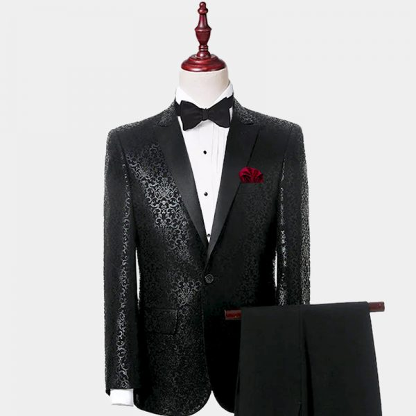 Men's Black Patterned Tuxedo Suit Wedding Prom from Gentlemansguru.com