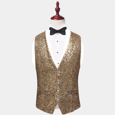 Mens Gold Sequin Vest from Gentlemansguru.com
