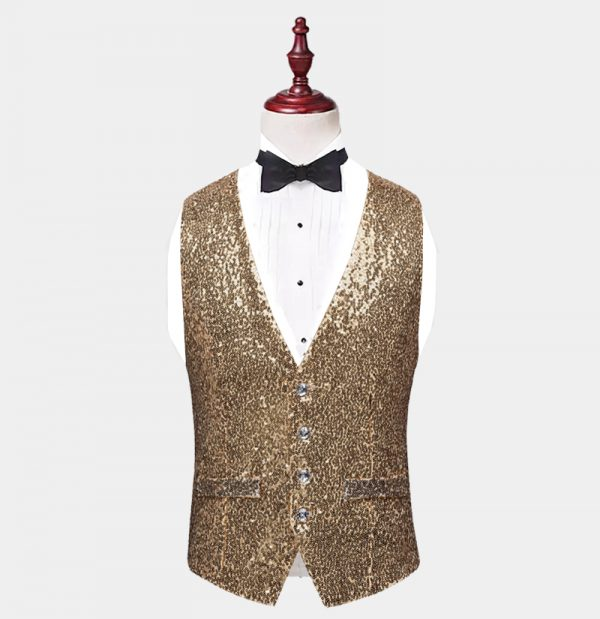 Mens Gold Sequin Vest from Gentlemansguru.com