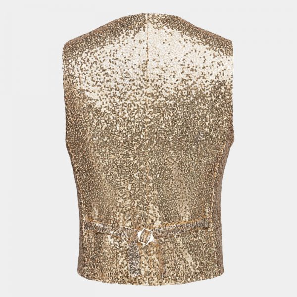 Mens Gold Sequin Waistcoat from Gentlemansguru.com
