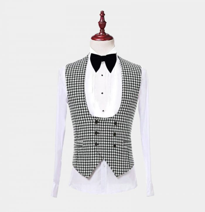 Mens Houndstooth Tuxedo Vest from Gentlemansguru.com