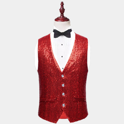Mens Red Sequin Vest from Gentlemansguru.com