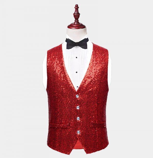 Mens Red Sequin Vest from Gentlemansguru.com