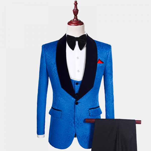 Mens Royal Blue And Black Tuxedo Suit For Prom-Wedding from Gentlemansguru.com