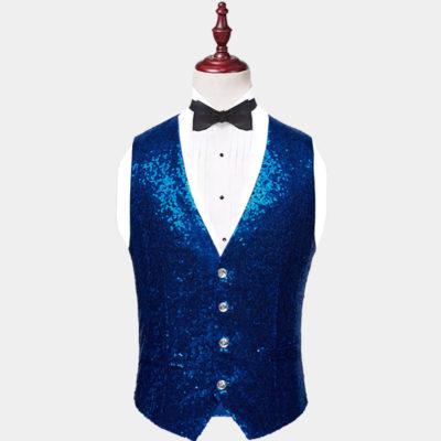 Mens Royal Blue Sequin Vest from Gentlemansguru.com